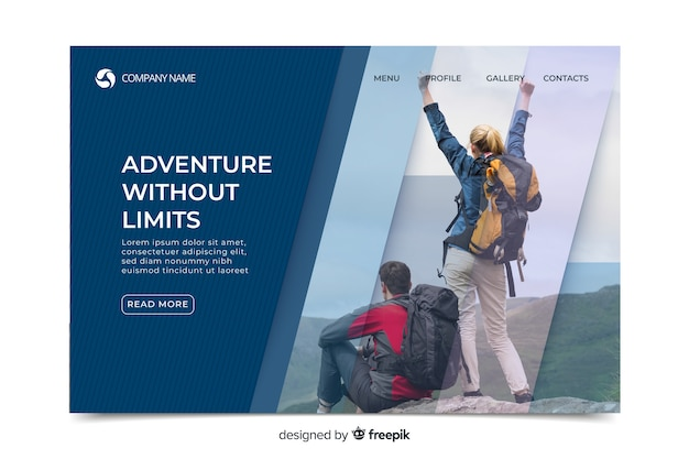 Elegant sport landing page with photo Free Vector