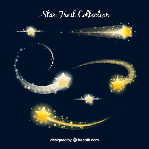 Elegant star trail collection Free Vector