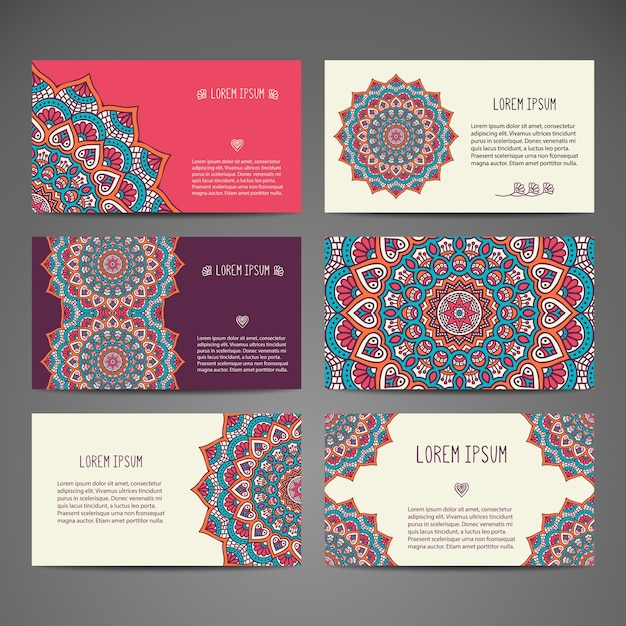 elegant stationary mandala collection vector free download