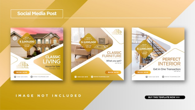 Elegant style of real estate or home sale instagram post design Premium Vector
