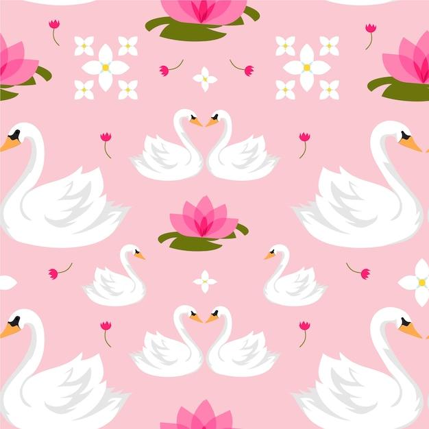 エレガントなスタイルの白鳥のパターン Premiumベクター