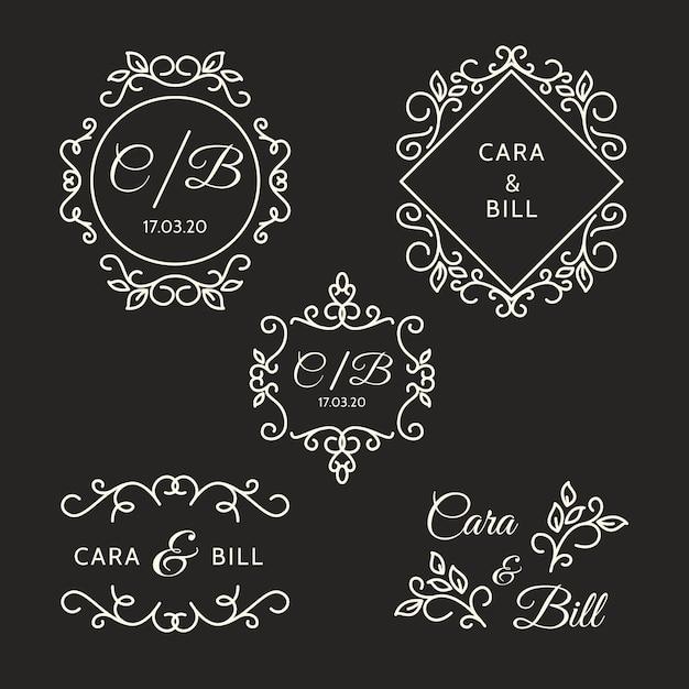 Элегантные свадебные логотипы Бесплатные векторы