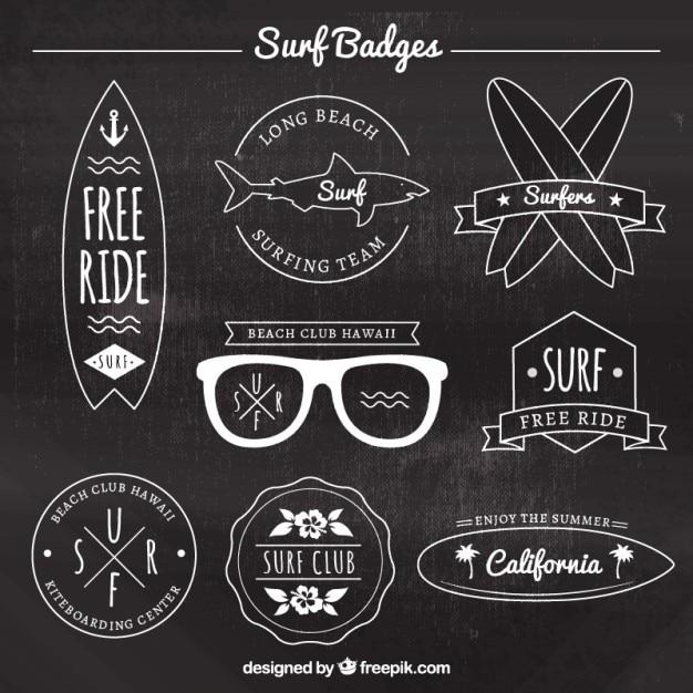 Elegant surf badge collection