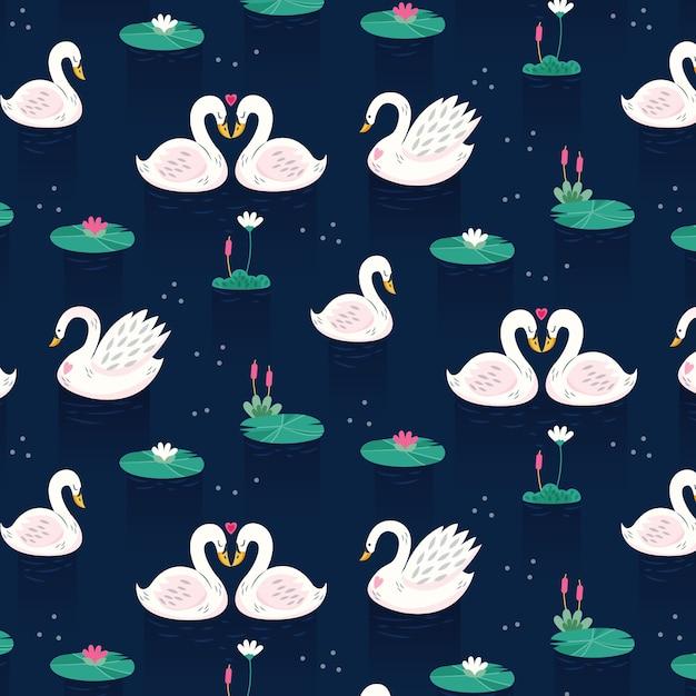 Концепция коллекции элегантный лебедь Бесплатные векторы
