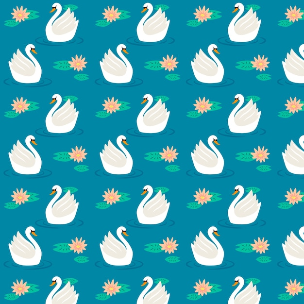 スイレンの花を持つエレガントな白鳥のパターン 無料ベクター