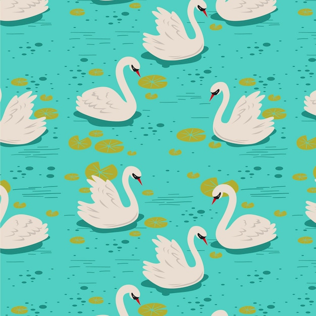 Elegant swan pattern Free Vector