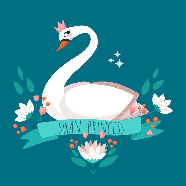 Элегантная принцесса-лебедь с короной Бесплатные векторы