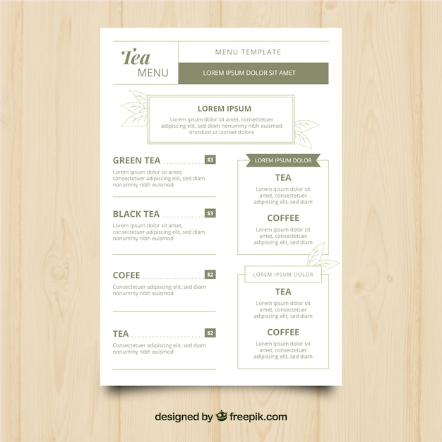 Elegant tea menu template with flat design Free Vector