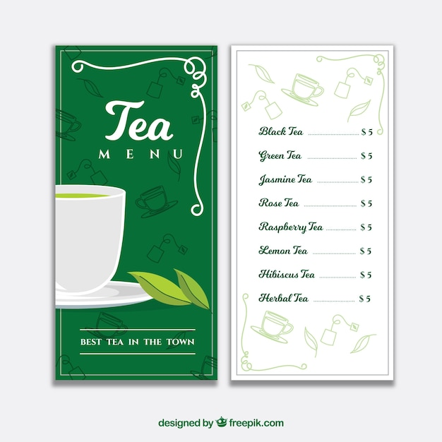 elegant tea menu template with flat design vector free download