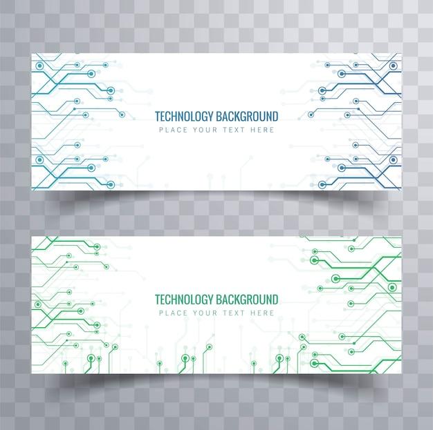 Elegant technology banners set design