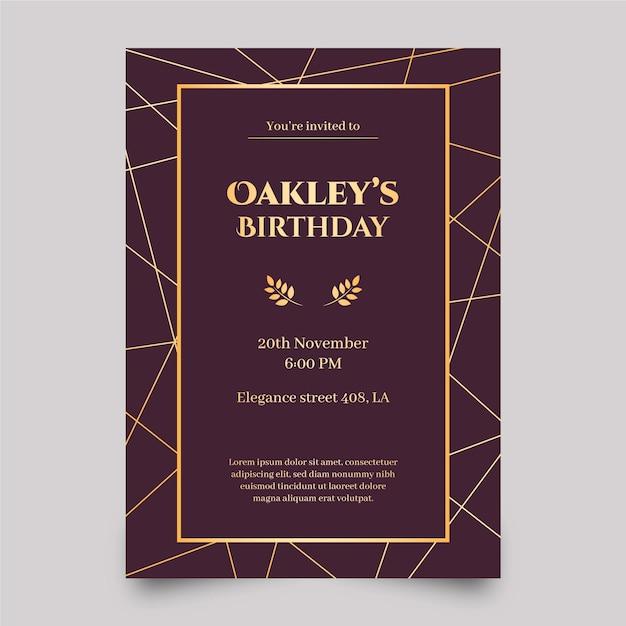 Элегантный шаблон приглашения на день рождения Бесплатные векторы