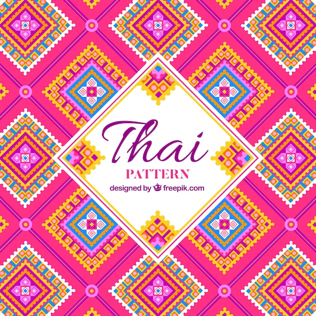 Elegant thai pattern with flat design Free Vector