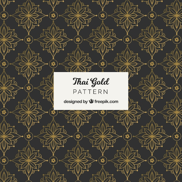 Elegant thai pattern with golden style Free Vector