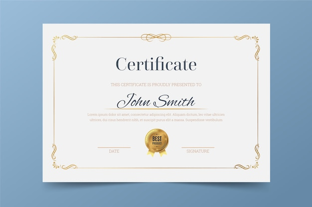 Elegant theme for certificate template Premium Vector
