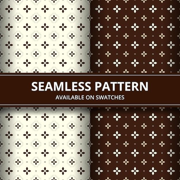 エレガントな伝統的なインドネシアのバティックシームレスパターン背景壁紙セット茶色のクラシックなスタイルで茶色の色に設定 Premiumベクター
