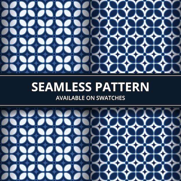 古典的な青い色でエレガントな伝統的なインドネシアのバティックシームレスパターン背景壁紙セット Premiumベクター