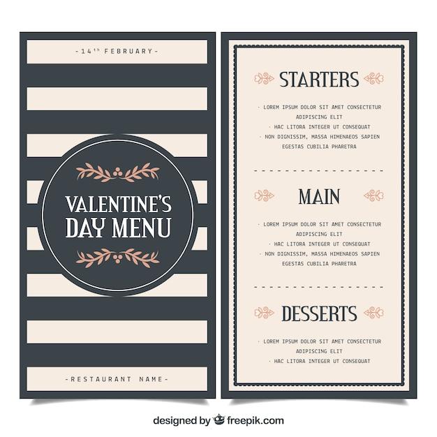 Elegant Valentine Menu Template Free Vector