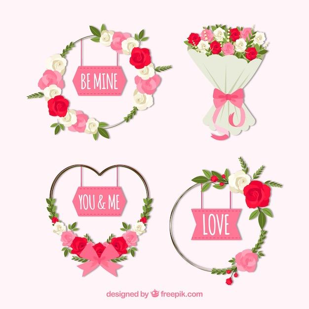 Elegant valentine wreath and bouquet\ collection