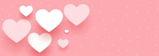 Elegant valentines day banner with white hearts Free Vector