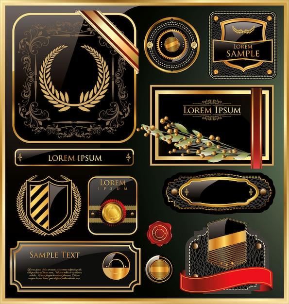 Elegant vector black gold frame label Premium Vector