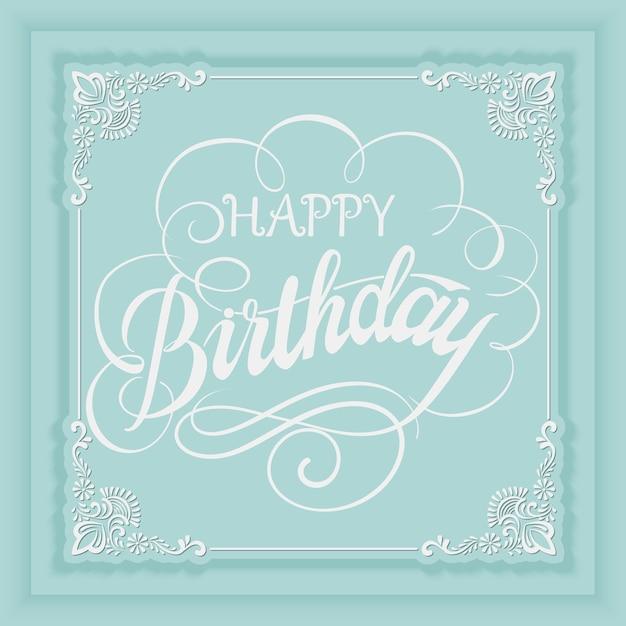 Scheda dell'invito di buon compleanno di vettore elegante con e cornice con elementi floreali e bella tipografia. Vettore gratuito