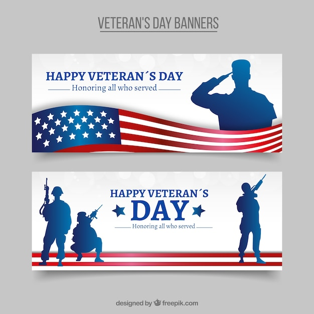 Elegant veterans day banners with silhouettes Free Vector