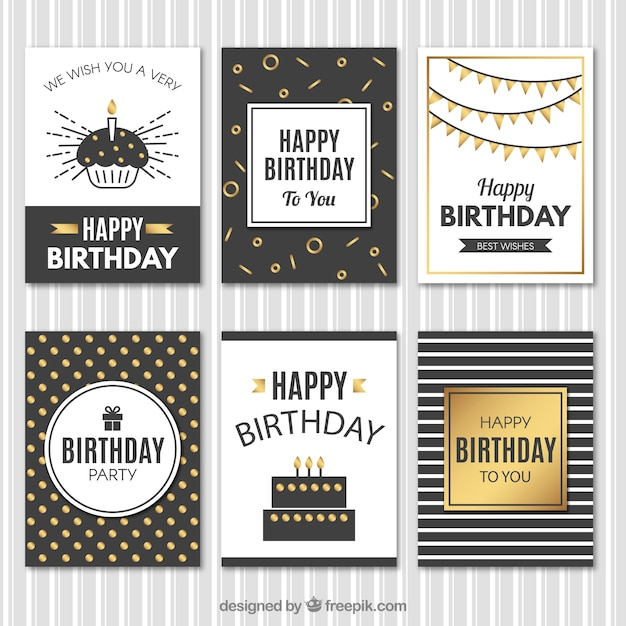 Elegant vintage birthday cards with golden\ details