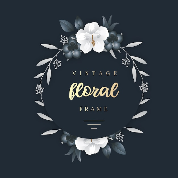 Elegant vintage floral frame Premium Vector