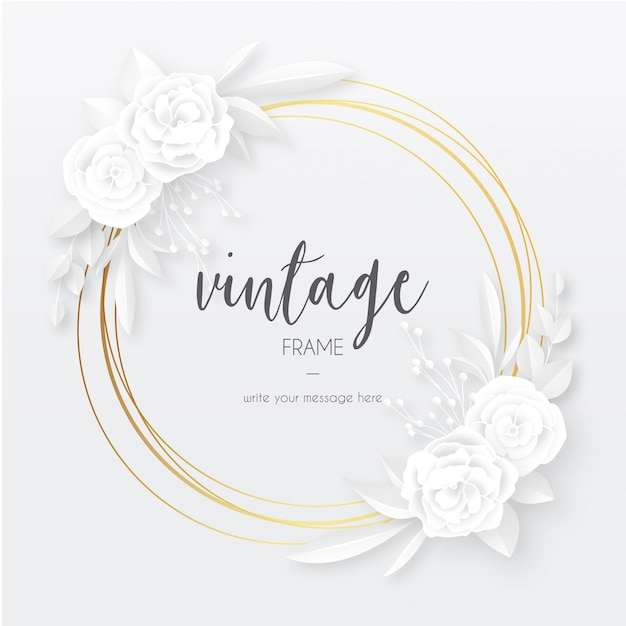 Elegant vintage frame with white papercut flowers Free Vector