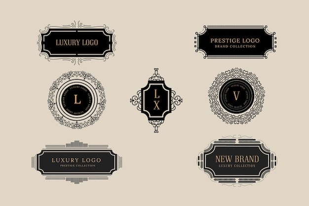 Elegant vintage logo collection Free Vector
