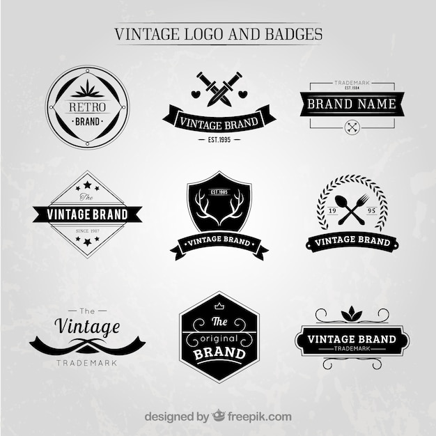 Elegant Vintage Logos And Badges Set Premium Vector