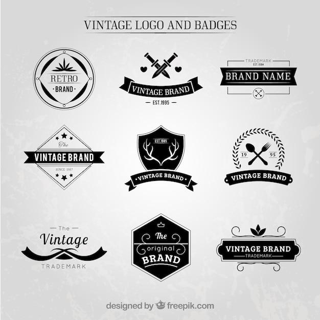 elegant vintage logos and badges set vector premium download