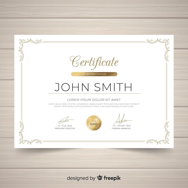 Elegant vintage ornamental certificate template Free Vector
