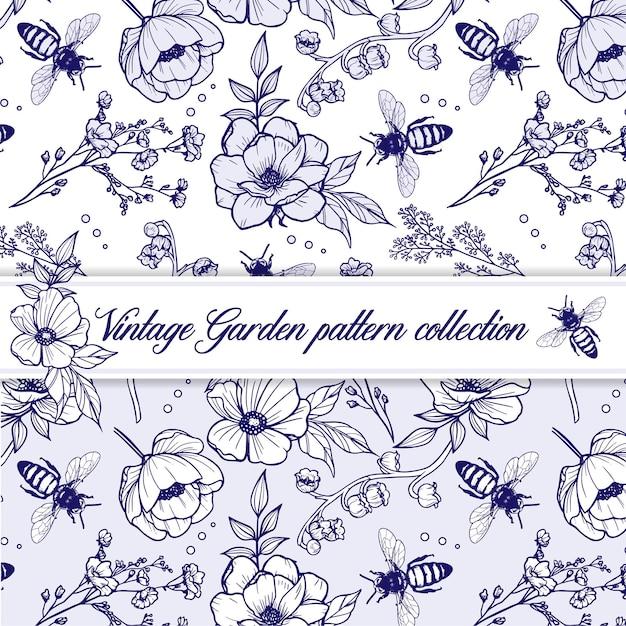 花と蜂とエレガントなヴィンテージアウトラインハーブパターン Premiumベクター