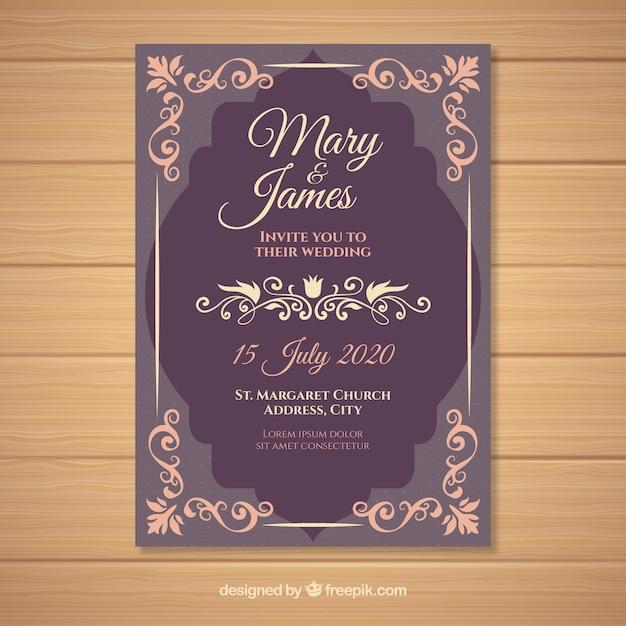 Elegant vintage wedding invitation template Vector Free Download