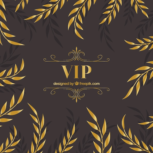 Elegant vip background with golden leaves