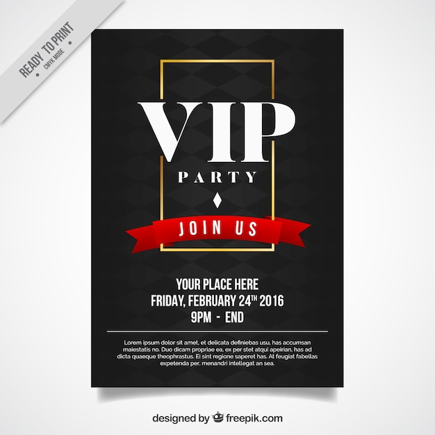 Elegant vip party poster Free Vector