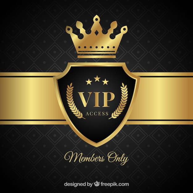 Elegant vip shield background with crown Free Vector