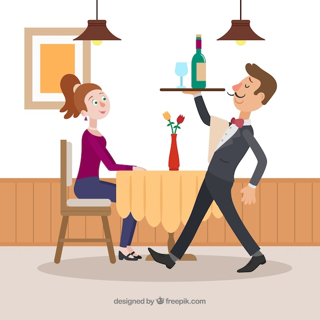 Elegant waiter serving wine with flat design Free Vector