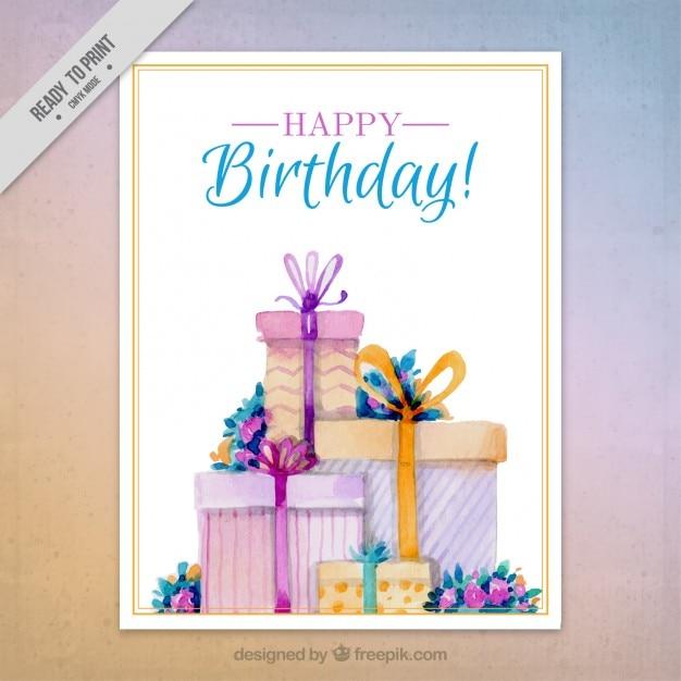 Elegant watercolor birthday card Vector | Premium Download