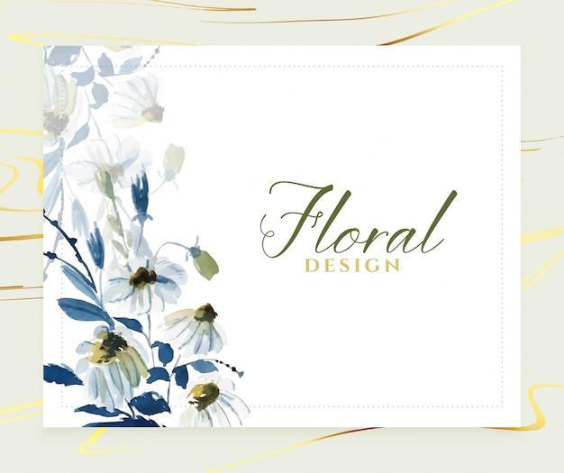 Elegant watercolor blue floral card  template Free Vector