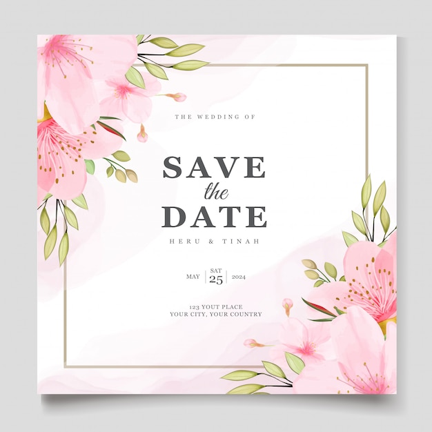 Elegant watercolor cherry blossom card template Free Vector