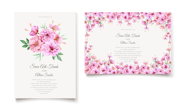 Elegant watercolor cherry blossom invitation card template Premium Vector