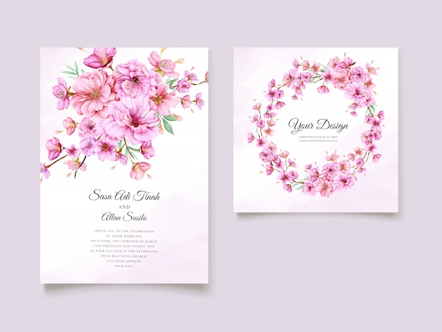 Elegant watercolor cherry blossom invitation card template Free Vector