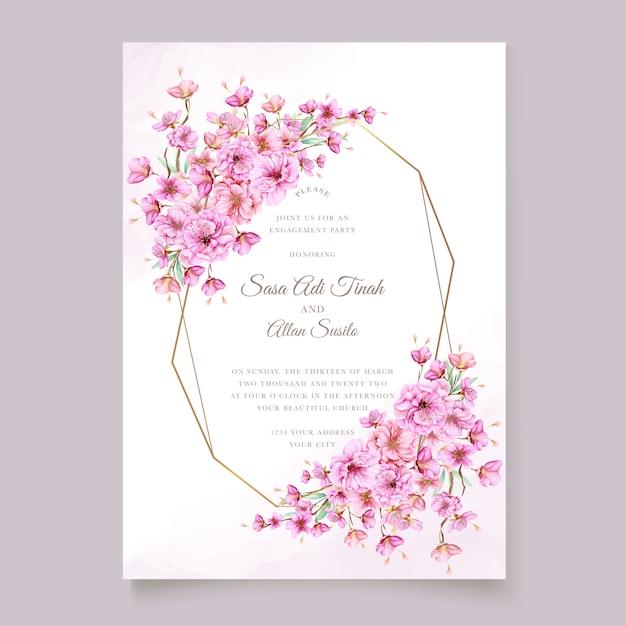 Elegant watercolor cherry blossom invitation card template Free Vector
