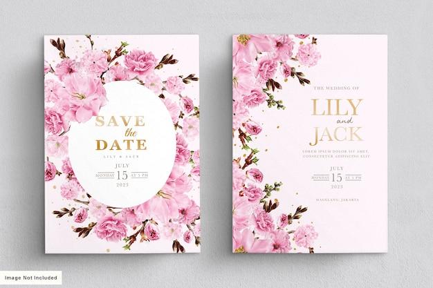 エレガントな水彩画の桜の結婚式の招待カードセット 無料ベクター