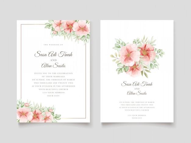 Elegant watercolor dog rose flowers wedding invitation card Free Vector