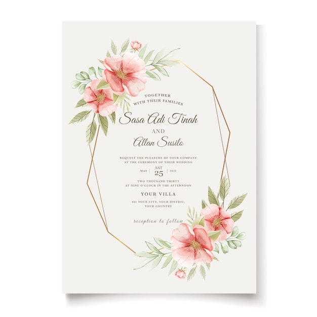 Elegant watercolor dog rose flowers wedding invitation card Free Vector
