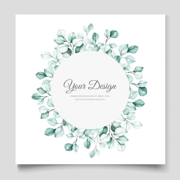 Elegant watercolor eucalyptus invitation card template Free Vector