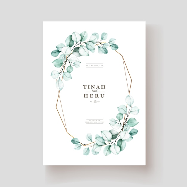 Elegant watercolor eucalyptus invitation card Free Vector